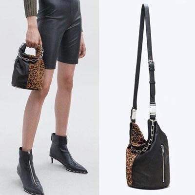 [ラムスキン] レオパードハーフラムスキンチェーンバケットバッグ