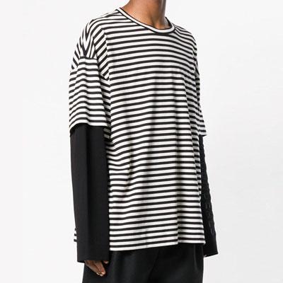 [UNISEX] フェイクレイヤードストライプロングスリーブTシャツ