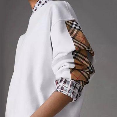[UNISEX] ベージュチェックパッチスリーブポイントスウェットシャツ(4size)