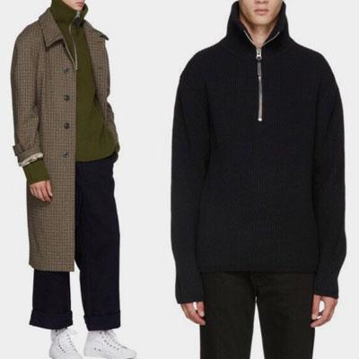 [UNISEX] ハーフジップアップポイントオ・バフェットニットセーター(3color)