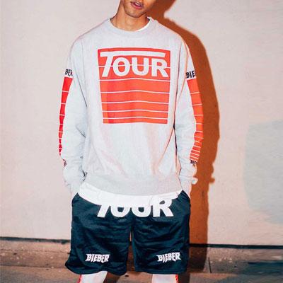 Justin Bieber st. レッドボックス&ホワイトラインツアーロゴロングスリーブTシャツ