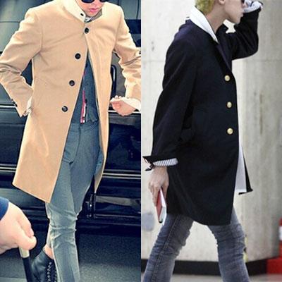 ★当日発送★[NAVY-XL]シングルボタン3カラーヒドゥンボタンコート/ BIGBANG/ G-DRAGON/ TOP/ EXO
