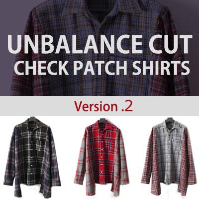[UNISEX] BTOB YookSungjae st. [ver.2]アンバランスカットチェックパッチシャツ(3color)