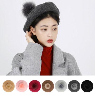 [UNISEX] [WOOL 100%]ポンポンファーウールベレー帽(7color)