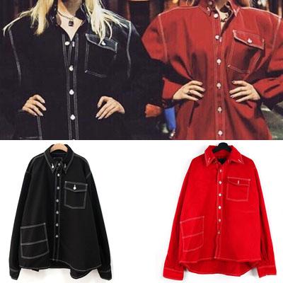 [UNISEX] オーバーサイズワークジャケットシャツ(2color)