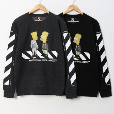 [UNISEX] クロッシング・シンプソン起毛スウェットシャツ(2color 4size)