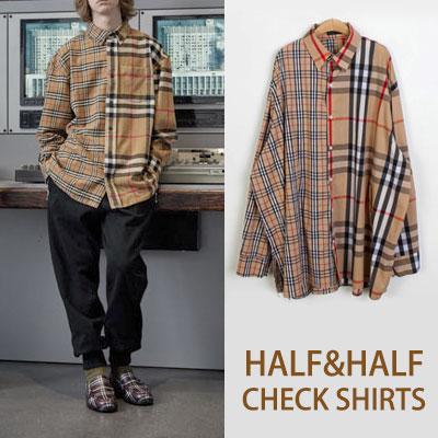 [UNISEX] ハーフハーフベージュチェックロングスリーブシャツ
