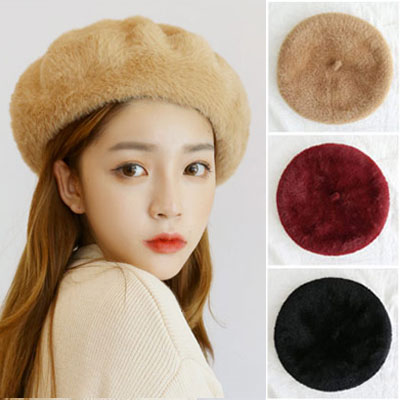 [UNISEX] ソフトファーベレー帽(3color)
