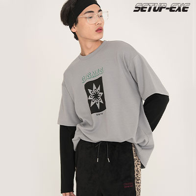【SETUP-EXE】 T-shirt - Grey-White