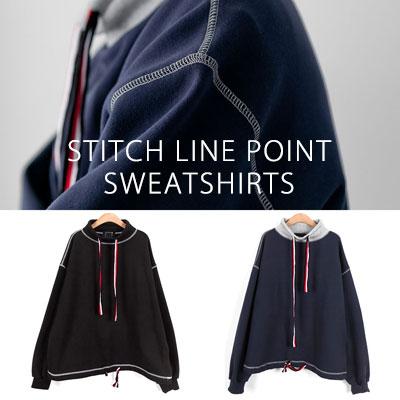 [UNISEX] ステッチラインポイントスウェットシャツ(2color 2size)