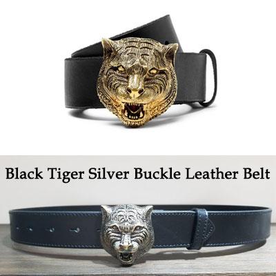 《only VIP》LINE G@CCI Black Tiger Silver Buckle Leather Belt