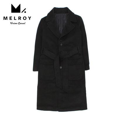 【MELROY】ベルトシングルブラックコート
