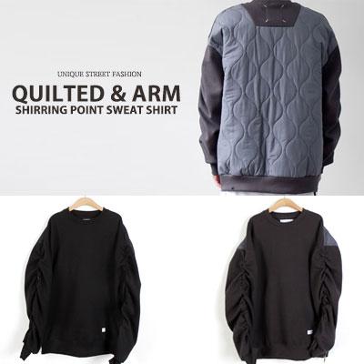 [UNISEX] キルトスリーブシェアリングポイントスウェットシャツ(2color)