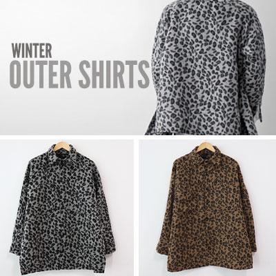 [UNISEX] [WOOL]サイドスリットオーバーサイズレオパード柄アウターシャツ(2color)