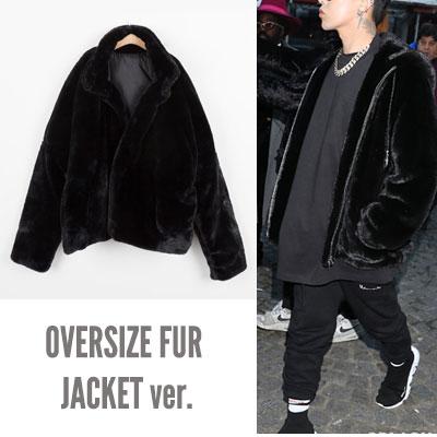 BIGBANG GD/G-dragon/ジヨン st. オーバーサイズブラックファージャケット