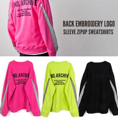 [UNISEX] 後ろ刺繍ロゴスリーブジップアップスウェットシャツ(3color)