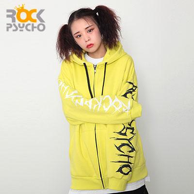 【ROCK PSYCHO】レタリングスリーブジップアップ -yellow green
