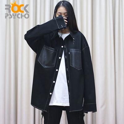 【ROCK PSYCHO】クロスピアスポイントシャツ -black