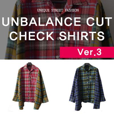 [ver.3]アンバランスカットチェックパッチシャツ(3color)