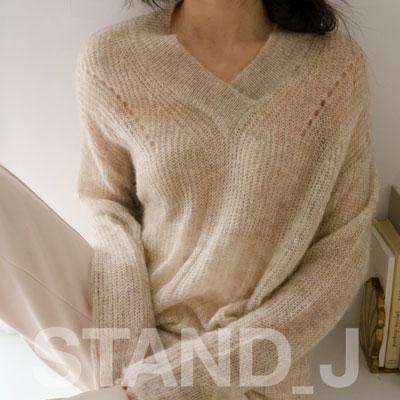 [STAND_J] コージーV-ネックセーター (4color)
