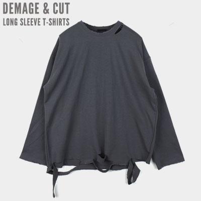 [UNISEX] ダメージカットロングスリーブtシャツ(4color)