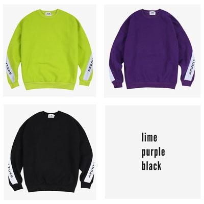 [UNISEX] ARCH スリーブロゴポイントスウェットシャツ(3color)