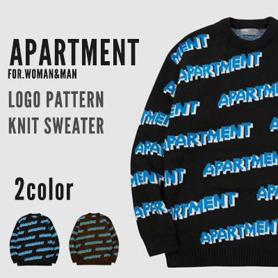 [UNISEX] APARTMENTロゴパターンニットセーター (2color)