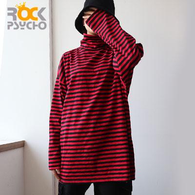 【ROCK PSYCHO】ストライプタートルネックロングスリーブTシャツ -black+red