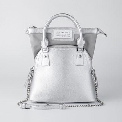 [M-size] ダブルバッグst。トートバッグショルダーバッグ -silver