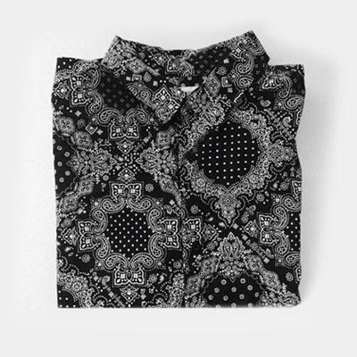[UNISEX] ペイズリーブラックロングスリーブシャツ-copy