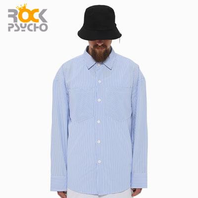 【ROCK PSYCHO】オーバーサイズシャツ-blue