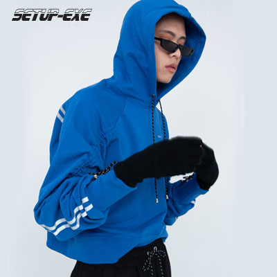 【SETUP-EXE】REFLECTIVE SHIRRING HOODIE -blue