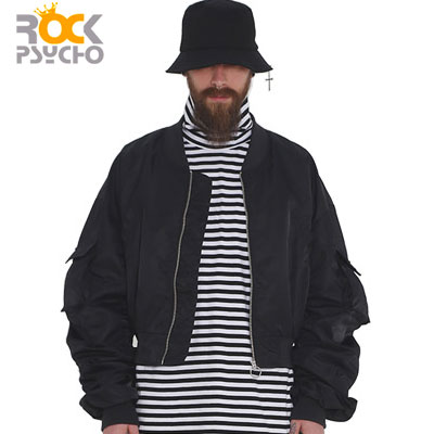 【ROCK PSYCHO】クロップフライトジャケット-black