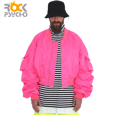 【ROCK PSYCHO】クロップフライトジャケット -pink