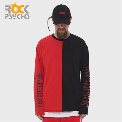 【ROCK PSYCHO】レッドブラックハーフロングTシャツ