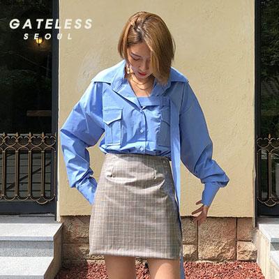 【GATELESS】ベルトシャツ -blue