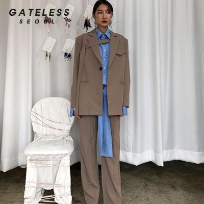 【GATELESS】オーバーベルトジャケット -beige