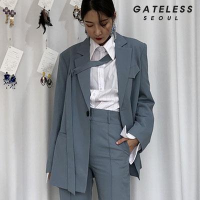 【GATELESS】オーバーベルトジャケット -blue