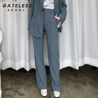 【GATELESS】ベルトオーバージャケットセットパンツ -blue
