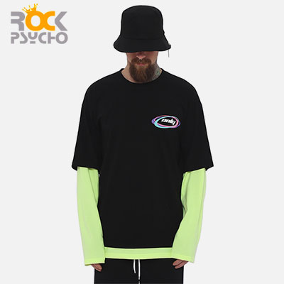 【ROCK PSYCHO】ONLY レイヤードロングスリーブTシャツ -neon green