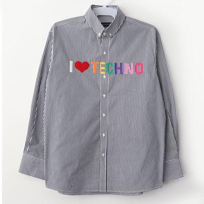 [UNISEX] ラブマーク刺繍ストライプシャツ