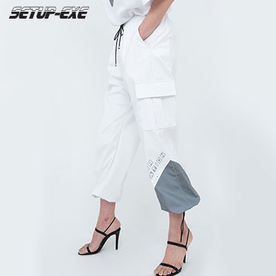 【SETUP-EXE】Reflective pointed Pants - white