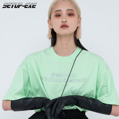 【SETUP-EXE】Reflective lettering T-shirt - Mint
