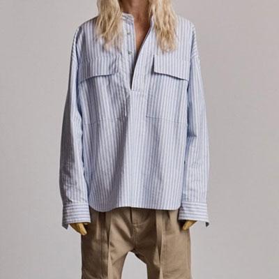 [UNISEX] オーバーサイズブルーストライプビッグポケットシャツ