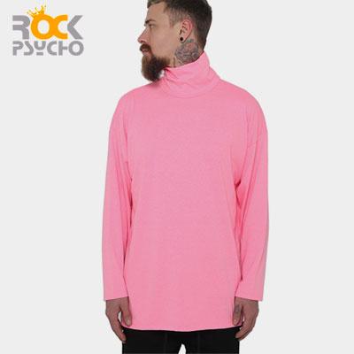 【ROCK PSYCHO】ネオンカラータートルネック長袖Tシャツ-pink