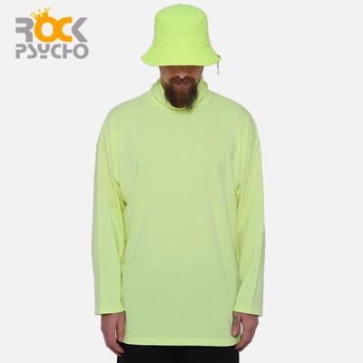 【ROCK PSYCHO】ネオンカラータートルネック長袖Tシャツ-neon green