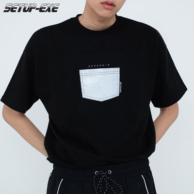 【SETUP-EXE】Reflective pocket T-shirt - Black