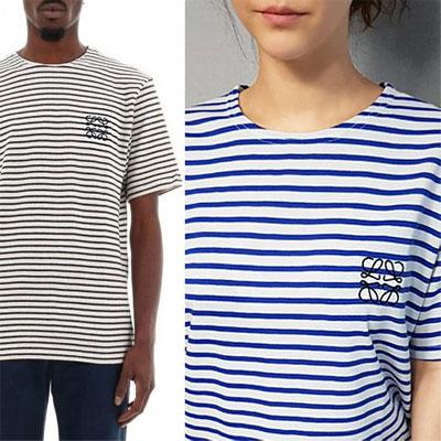 [UNISEX] ロープ刺繍ストライプ半袖Tシャツ(2color)