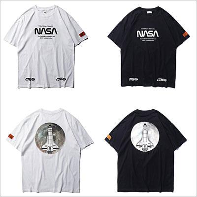 [UNISEX]MOON ROCKETプリントショートスリーブTシャツ(2color)