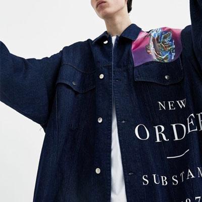 [UNISEX]'NEW ORDER'ロゴオーバーサイズのデニムジャケット